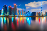 Dubai Skyline at Dusk, Dubai. Photographic Print by  MasterLu