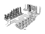 A wedding in which the characters are all chess pieces, with the bishop ma... - New Yorker Cartoon Premium Giclee Print by Benjamin Schwartz