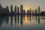 Dubai Sunset in Front of the Artificial Lake outside the Dubai M Photographic Print by  Macqua