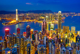 Hong Kong Skyline at Night, China Photographic Print by  lkunl