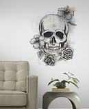 Neutral Floral Skull Peel & Stick Giant Wall Decals - Duvar Çıkartması