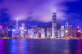Hong Kong Victoria Harbour Cityscape at Night. Photographic Print by  orpheus26