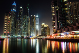 Dubai Marina at Night Photographic Print by  michalkardos