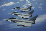 Three Italian Air Force Ef2000 Aircraft in Flight over the Mediterranean Photographic Print by Stocktrek Images