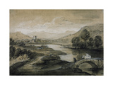 Upland Landscape with River and Horsemen Crossing a Bridge Giclee Print by Thomas Gainsborough