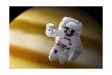 An Astronaut Floating in Space Above a Large Alien Planet Prints by Stocktrek Images