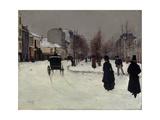 The Boulevard De Clichy under Snow Impression giclée par Norbert Goeneutte