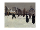 The Boulevard De Clichy under Snow Giclee Print by Norbert Goeneutte