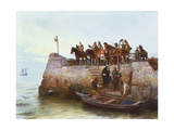 A Lost Cause: Flight of King James II after the Battle of the Boyne Giclee Print by Andrew Carrick Gow