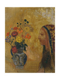 Profile of a Woman with a Vase of Flowers Giclee Print by Odilon Redon