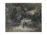 Wooded Landscape with Peasant Asleep and Horses Outside a Shed Giclee Print by Thomas Gainsborough
