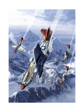 Tuskegee Airmen Flying Near the Alps in their P-51 Mustangs Prints by Stocktrek Images