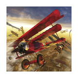 German Triple Wing Bi-Plane the Red Baron. World War I Western Front Air Assault Print by Stocktrek Images