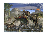 Stegosaurus Defending Himself from T-Rex and Some Utahraptors Art by Stocktrek Images