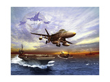 FA-18 Hornet Taking Off of a U.S. Navy Aircraft Carrier Poster by Stocktrek Images