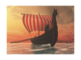 A Viking Longboat Sails to New Shores Print by Stocktrek Images
