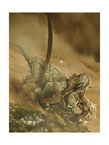 Battle Scene Between a Velociraptor and Protoceratops in the Mongolian Desert Prints by Stocktrek Images