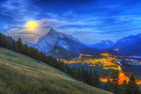 Supermoon Rising over Mount Rundle and Banff Townsite in Canada Photographic Print by Stocktrek Images