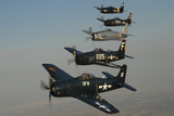 Formation of Grumman F8F Bearcats Flying over Chino, California Photographic Print by Stocktrek Images