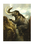 A Woolly Mammoth Takes a Deadly Fall from a Cliff Posters by Stocktrek Images