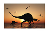 A Pair of Spinosaurus Hunting for Fish Prints by Stocktrek Images