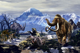 Neanderthals Approach a Group of Machairodontinae Feeding with a Herd of Woolly Mammoths Art by Stocktrek Images