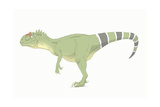 Allosaurus Pencil Drawing with Digital Color Prints by Stocktrek Images