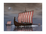 Drekar Viking Ships Navigating the Ocean at Night Poster by Stocktrek Images