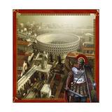 Roman Legionnaire with a Roman City and Coliseum Print by Stocktrek Images