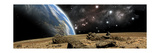 An Earth-Like Planet Rises over a Rocky and Barren Alien World Posters by Stocktrek Images