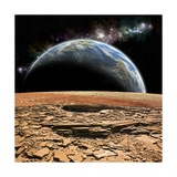 An Earth-Like Planet Rises over a Rocky and Barren Alien Moon Prints by Stocktrek Images