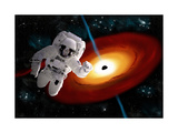 An Astronaut Floating in Outer Space as He Is Pulled Towards a Massive Black Hole Print by Stocktrek Images