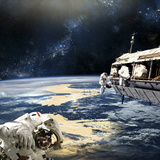 Astronauts Working on Space Station While Orbiting an Earth-Like Planet Photographic Print by Stocktrek Images