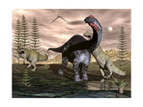 Allosaurus Dinosaurs Attacking an Apatosaurus Art by Stocktrek Images