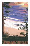 Lake Michigan - Sunset on Beach Alfombrilla por Lantern Press