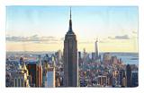 En el centro de la ciudad al anochecer, el edificio Empire State y One World Trade center (1WTC), Manhattan, Nueva York Alfombrilla por Philippe Hugonnard