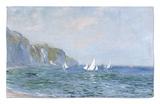 Acantilados y veleros en Pourville Alfombrilla por Claude Monet