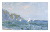 Cliffs and Sailboats at Pourville Rug by Claude Monet