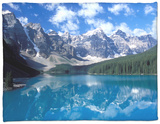 Moraine Lake in the Valley of Ten Peaks, Canada Fleece Blanket by Diane Johnson