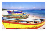 Fishing Boats on Beach Rug by Greg Johnston