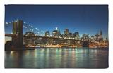 Manhattan Skyline and Brooklyn Bridge at Dusk, New York City, New York, USA Rug by Amanda Hall