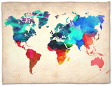 World Watercolor Map 1 Fleece Blanket by  NaxArt
