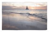 Catamaran at Sunset Seen from Bucuti Beach Resort on Eagle Beach Rug by Holger Leue
