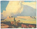 Open Range, 1942 Fleece Blanket by Maynard Dixon