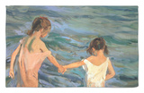 Children in the Sea, 1909 Rug by Joaquín Sorolla y Bastida