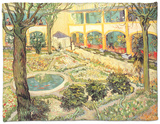 The Asylum Garden at Arles, c.1889 Fleece Blanket by Vincent van Gogh