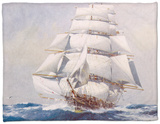Clipper Under Full Sail Fleece Blanket by J. Spurling
