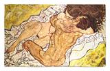 El abrazo, 1917 Alfombrilla por Egon Schiele