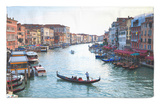 A Gondola Crossing the Grand Canal, Venice, UNESCO World Heritage Site, Veneto, Italy, Europe Rug by Amanda Hall