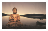 Buda dorado al lado del lago Alfombrilla por Jan Lakey
